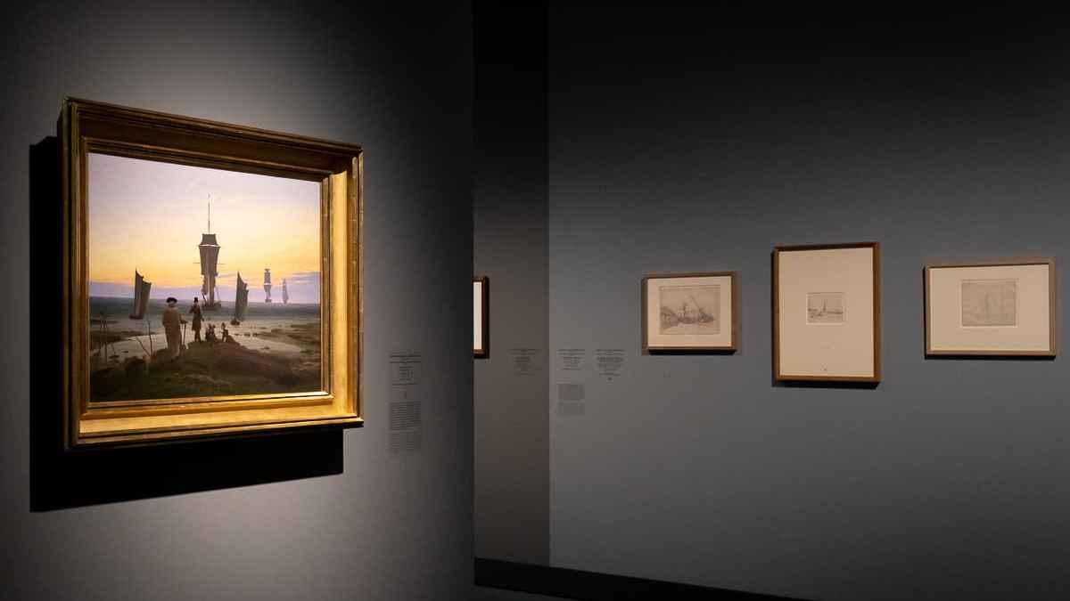 Bild Lebensstufen und passende Zeichnungen von Caspar David Friedrich in der Ausstellung im Kunstpalast Düsseldorf