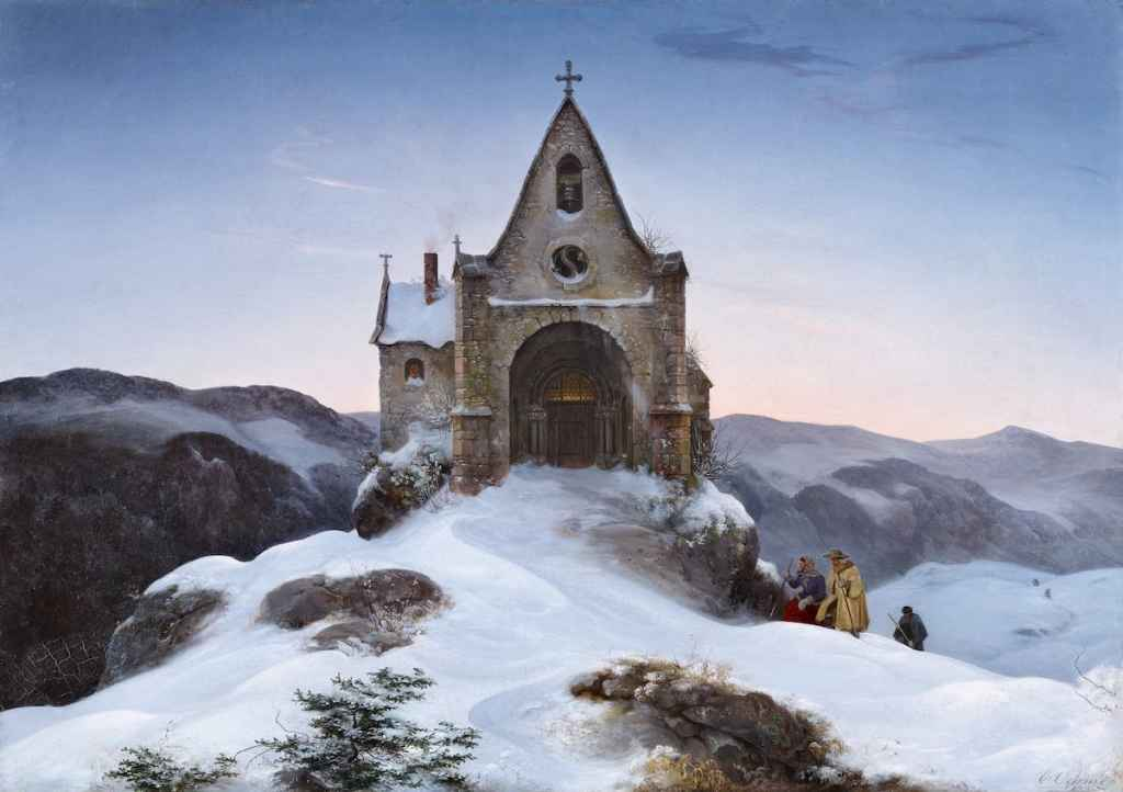 Bild: Erst Ferdinand Oehme - Bergkapelle im Winter, 1842, Privatsammlung; Foto: Sasa Fuis/VAN HAM Kunstauktionen GmbH & Co. KG