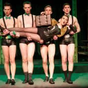 Lavonne Byers (center)  and the Kit Kat Boys (Mike Hodges, Michael Baird, Zach Wachter, Brendan Ochs) Photo by Dan Donovan Stray Dog Theatre Photo by