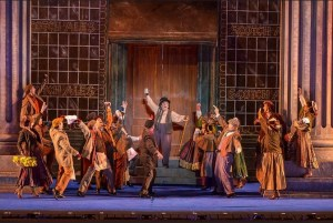 Michael McCormick (center) and the cast of My Fair Lady Photo by Phillip Hamer The Muny