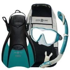 Aqua Lung Sport Diva Lx / Island Dry Snorkel/ Trek Fins / Snorkel Set - Teal, Medium