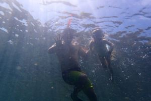 Dad and Daughter Snorkelling