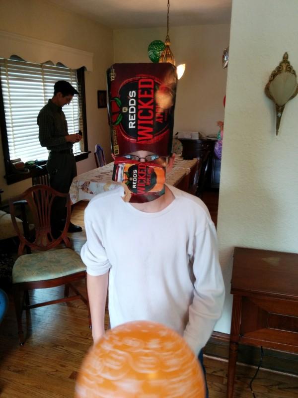 Corvin wearing a box helmet.