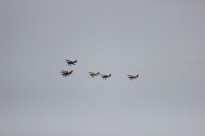 Flying in formation.