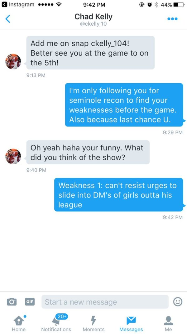 Chad Kelly slides in Mia Khalfia's DM's