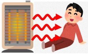 遠赤外線ヒーターの輻射熱で暖を取る人