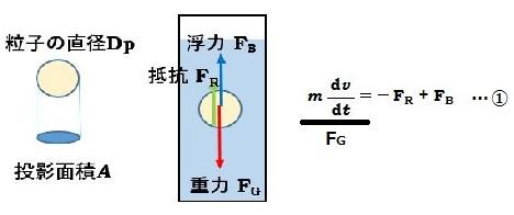 粒子に対して、重力、抵抗、浮力の関係を表した図と式