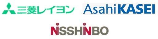三菱レイヨン、旭化成、日清紡の企業ロゴ