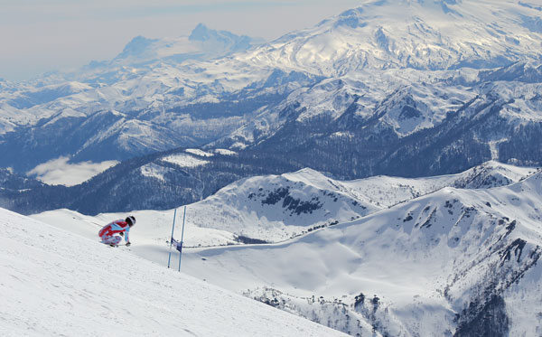 French Alpine ski team training at Corralco ski resort