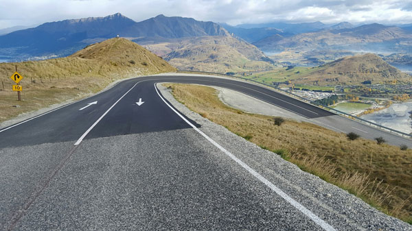 Not so hairy hairpin, Remarkables road