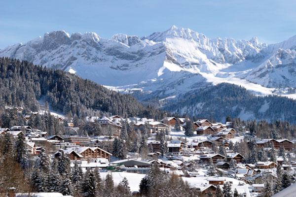 Villars village in winter