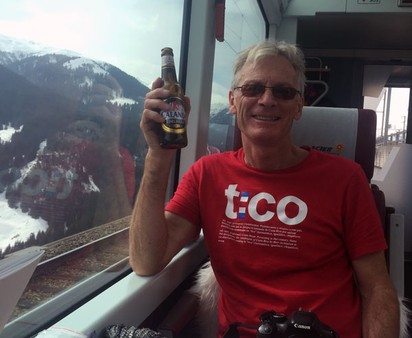 enjoying a beer on the Glacier Express