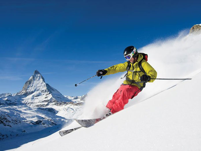 Skiing powder Zermatt