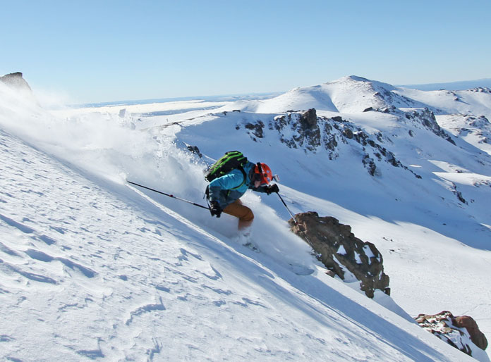Snow Action Editor Owain Price skiing Mallin Alto