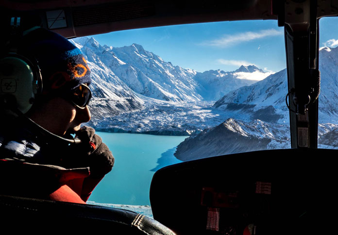 View from the chopper window with Mt Cook Heliski New Zealand