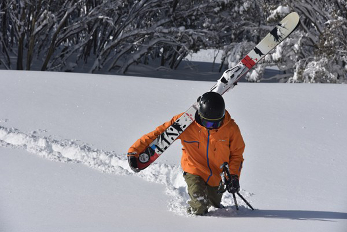 Wading out in deep snow at Hotham