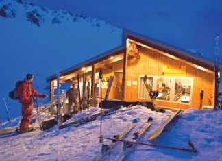 Mt Olympus top hut at night