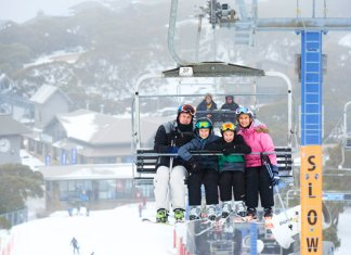 riding Blue Bullet lift at Buller