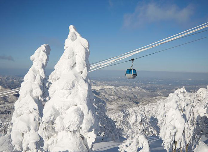 Ani ski resort gondola view showing how much snow they get