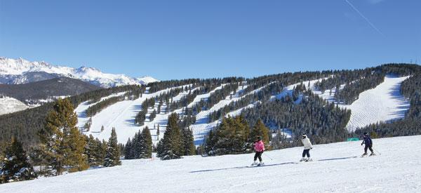 Kids skiing empty groomed runs at Vail