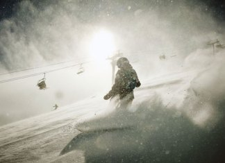 Powder boarding at Telluride