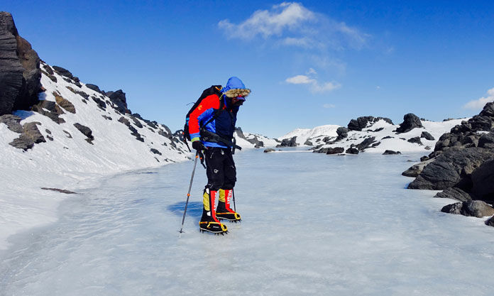 Dan Bull on frozen lake Ojos de Salado