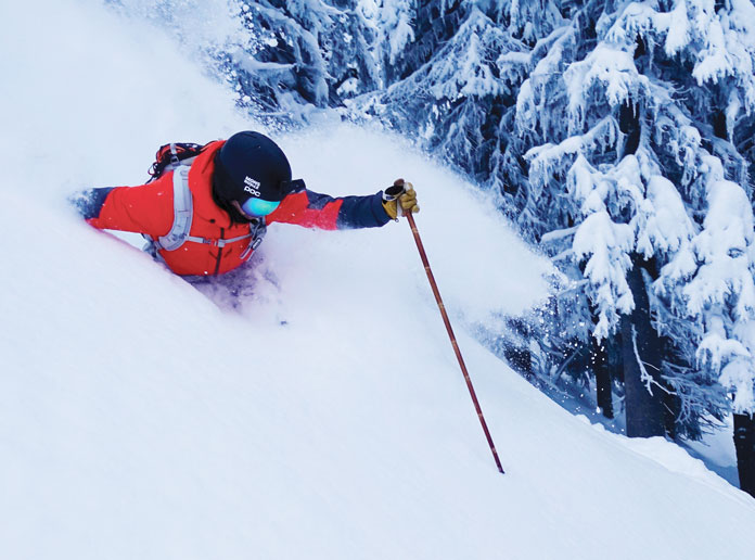 Craig Murray skiing the deep Revelstoke