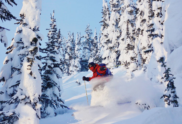 Craig Murray glade skiing at Revelstoke