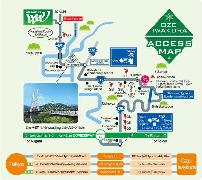 Oze-Iwakura access map