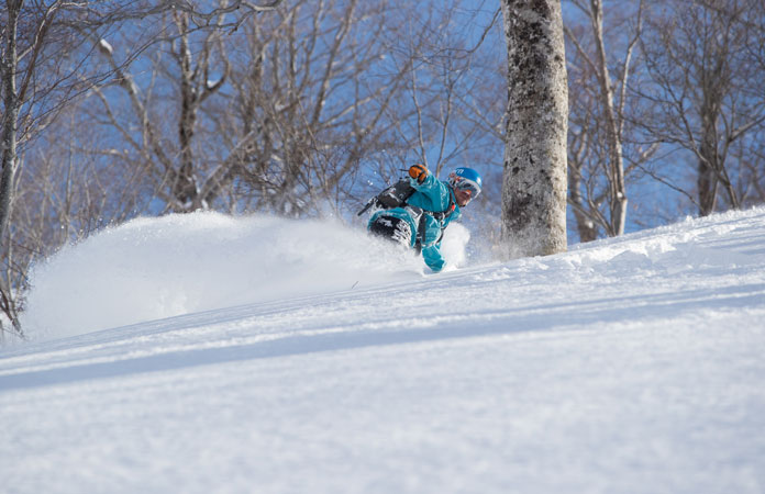 Adam Portland slashing fresh powder in the trees at Tanigawadake Tenjindaira