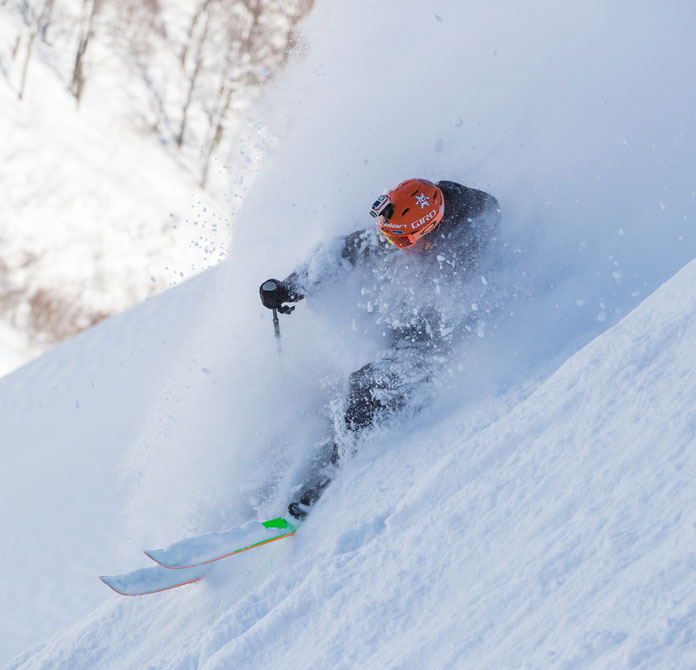 Snow Action Editor Owain Price gets a face full of  Tanigawadake Tenjindaira powde