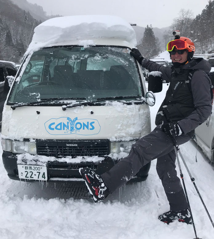 Wearing Dahu ski boots in deep snow in Japan