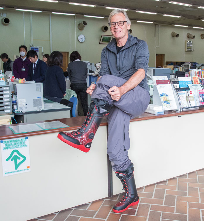 Wearing Dahu boots inside Katashina Municpal offices for a meeting