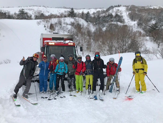 Hachimantai Cat Tour group at the end of a great day skiing