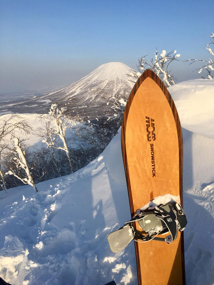 Moss Snowstick top sheet picture with Hokkaido's famous Mt Yotei ini the background