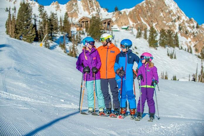 Family skiing at Snow Basin Ski Resort Utah