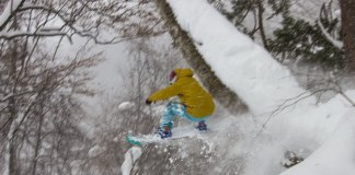 Hikaru Taira hits a big tree feature at Okutone Snow Park