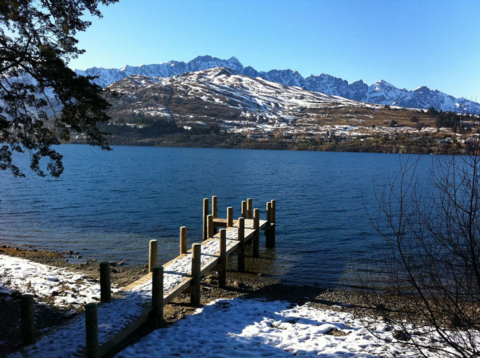 Winter view of the private jetty at The Rees Hotel Queenstown