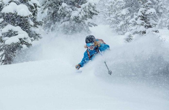 Deep powder skiing Jackson Hole trees