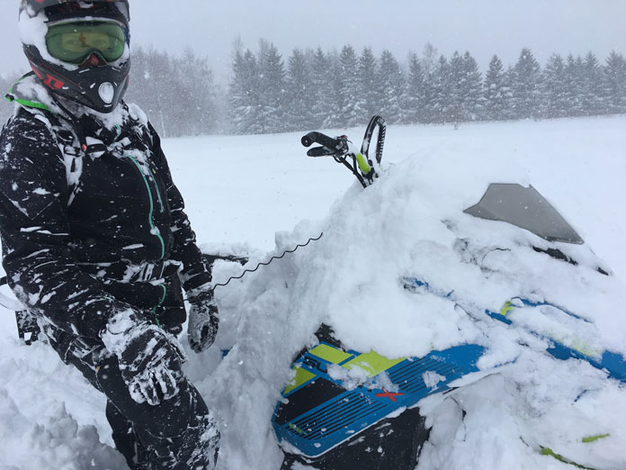Ride 509 Ignite heated goggles on, ready to charge in metre deep snow at Rusutsu