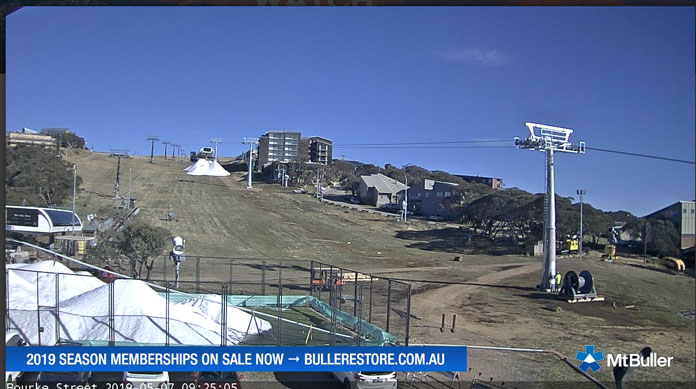 View of Bourke St Buller in May showing the new lift and snow making already under way