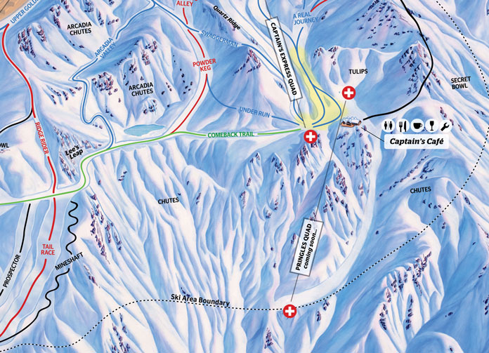 Inset of Cardrona 2019 Trail Map showing new Pringles area terrain