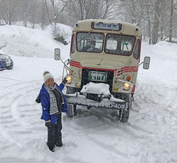 The Matsukawa Onsen Bonnet Bus in the snow