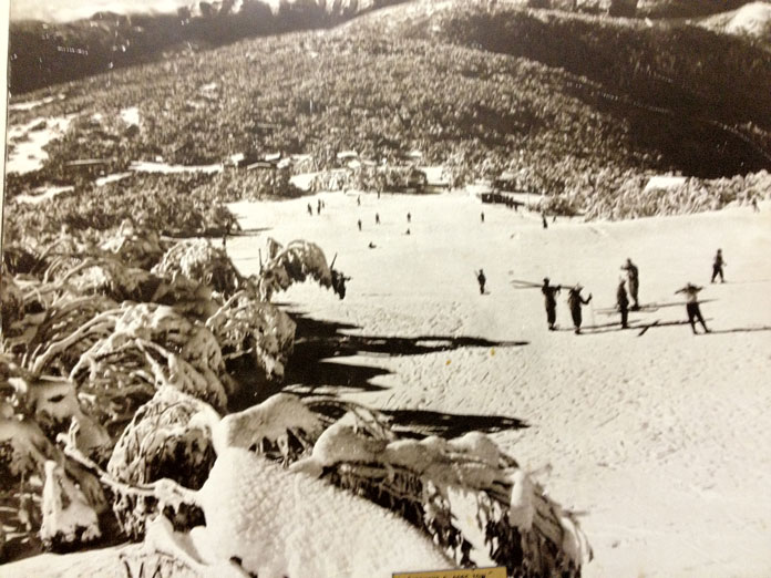 Historic shot of skiing Mt Buller c1950