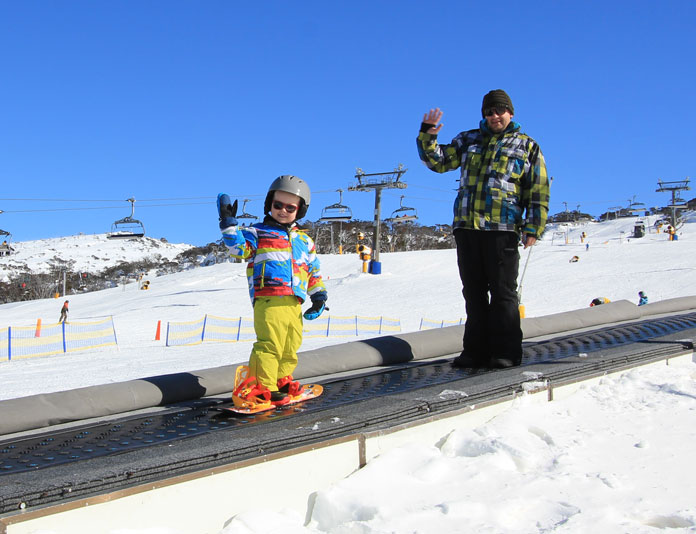 Young snowboarder day 1 of 2019 season at Perisher