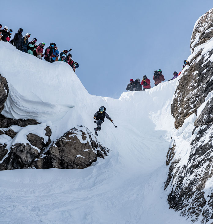 Trevor Harrison dropping Corbets at Jackson Hole