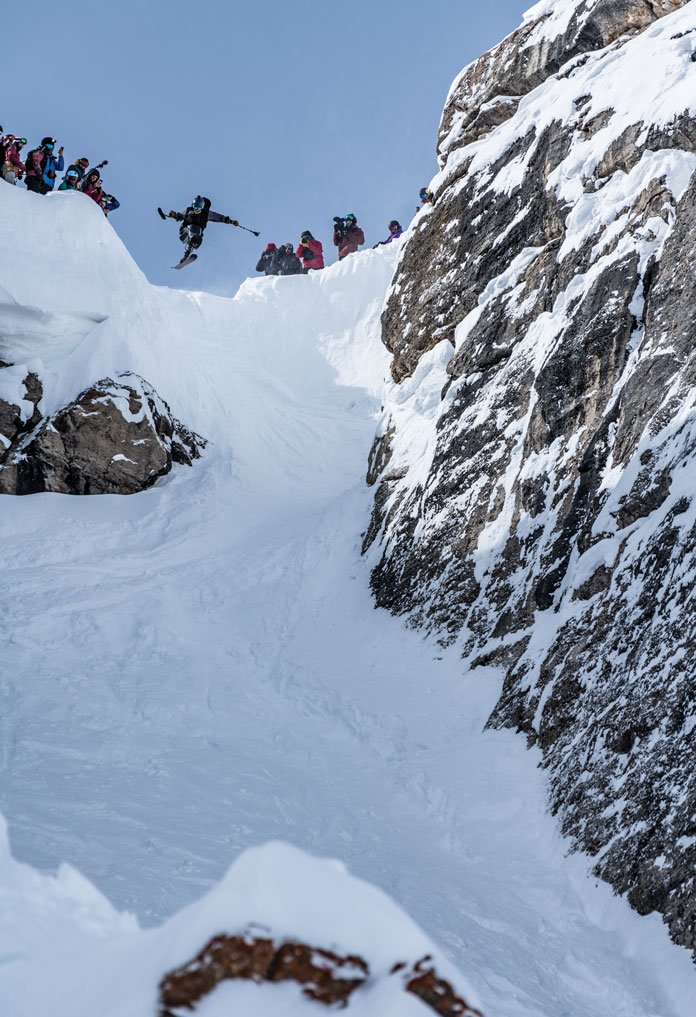 Trevor Kennison launches into Corbets at Jackson Hole