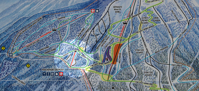 Revelstoke traim map inset showing new Stellar Chair location