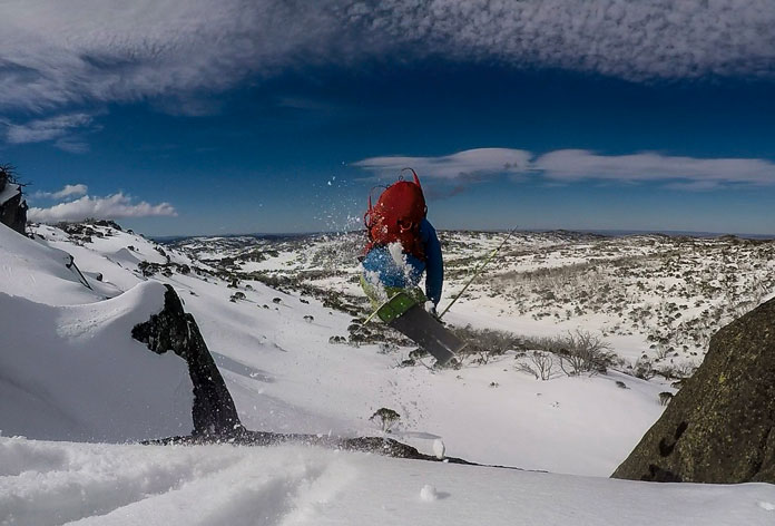 Steve Leeder leaps into the Aussie backcountry