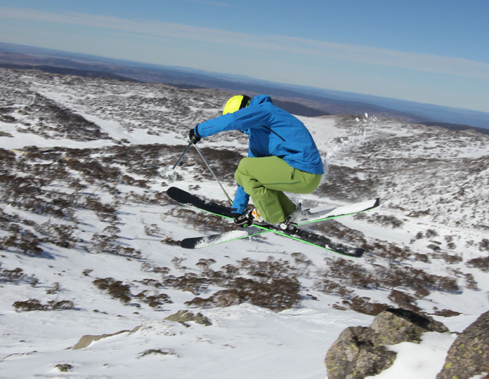 Steve Leeder popping off the Olympic ridgeline at Perisher on a pair of Elan Ripstik 96 skis